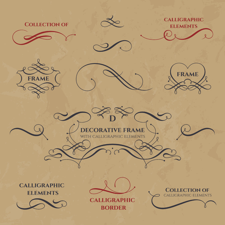 Collection of calligraphic elements. Decorative monograms and  borders. Template signage, labels, stickers, cards, menu. Graphic design page. Classic design elements for wedding invitations. Vettoriali