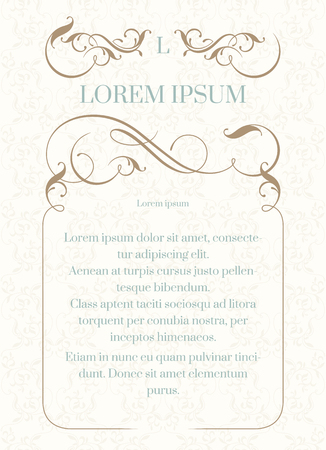 classical: order, frame with calligraphic elements and classical background. Elegant template for greeting cards, invitations, menus. Graphic design page. Wedding invitation.