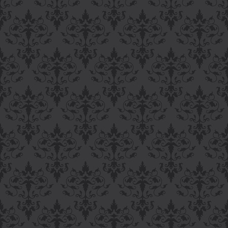 flower layout: Damask floral seamless pattern. Classical ornament. Vector Illustration. Dark decorative background for cards, invitations, packing, textiles, wallpapers, web design.