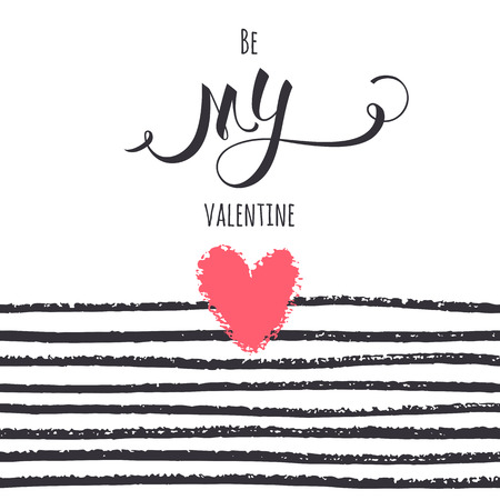 Valentines day card. Hand-drawing hearts and stripes on white background. Vector texture. Illusztráció