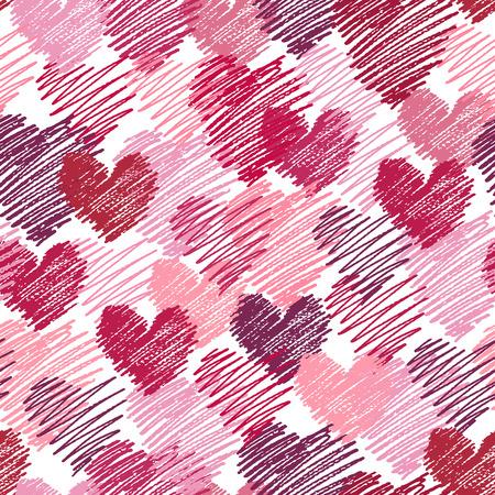 Pattern of painted hearts. Love background. Illusztráció