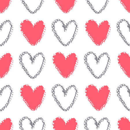 Seamless pattern of painted hearts.  Silhouette shape painted with chalk on  watercolor paper.Vector texture. Illusztráció