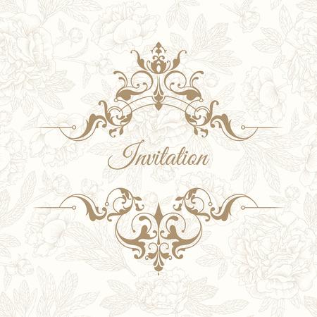 Plantilla para tarjetas de felicitación, invitaciones, menús, carteles, logotipos, etiquetas. La página de diseño gráfico. invitación de la boda .Hand-dibujo peonías de tinta. flores gráficos vectoriales. fronteras clásicas.