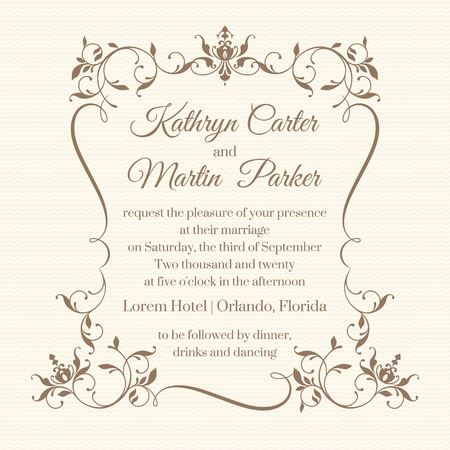 Hochzeitseinladung. Design-Klassiker Karten. Dekorative floralen Rahmen. Vorlage für Grußkarten, Einladungen. Grafik-Design-Seite. Standard-Bild - 52539741