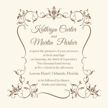 Invitación de boda. Diseñar tarjetas clásicas. Marco floral decorativo. Plantilla para tarjetas de felicitación, invitaciones. La página de diseño gráfico. Ilustración de vector