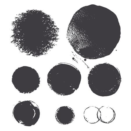 Hand-drawn set of  chalk, ink circles. Vector texture.