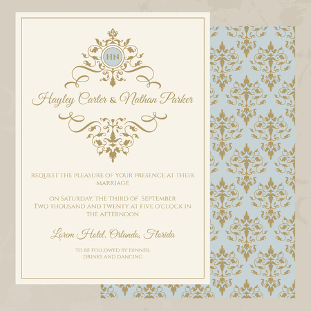 Wedding invitation. Classic seamless pattern. Decorative floral frame and monogram. Template for greeting cards, invitations.  Graphic design page.
