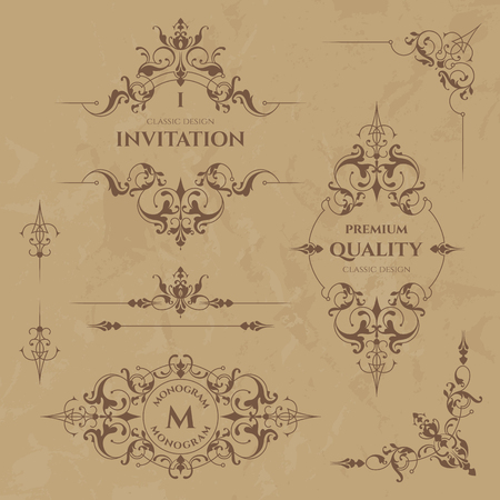 Set of decorative  borders, frames, corners and monograms. Template signage, labels, stickers, cards. Graphic design page. Floral borders. Classic design elements for wedding invitations.