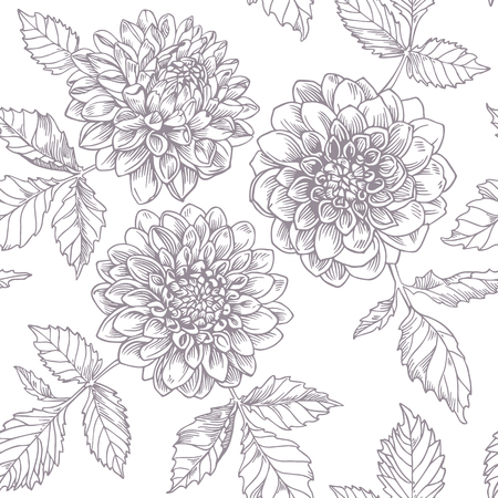 Hand-drawing ink dahlia. Seamless pattern. Vector graphic flowers on white background. Illusztráció