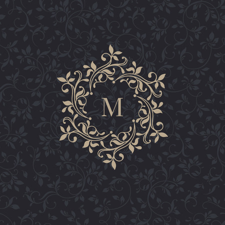 antique jewelry: Floral monograms for cards, invitations, menus, labels.