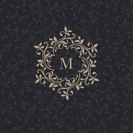 monogramas florales para tarjetas, invitaciones, menús, etiquetas. Ilustración de vector