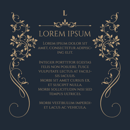 Decorative floral border on dark background. Template for greeting cards, invitations, menus, labels. Graphic design page.