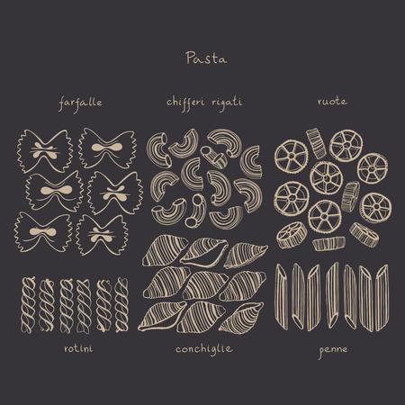 Set of Italian pasta on dark background. Vector illustration. Hand-drawng different pasta. Illusztráció