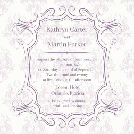 Frame with calligraphic elements and seamless pattern. Elegant template for greeting cards, invitations, menus. Graphic design page. Wedding invitation. Illusztráció