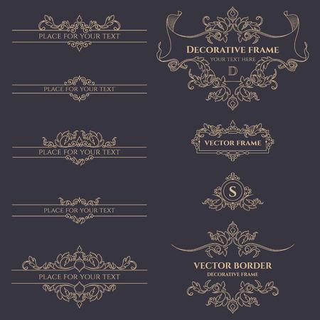 Conjunto de monogramas decorativos, bordes y marcos. Plantilla para las tarjetas, invitaciones, menús, etiquetas, adhesivos. páginas de diseño gráfico, rótulo de establecimiento, boutiques, cafeterías, hoteles.