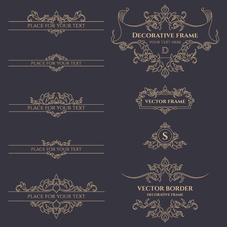 Set of decorative monograms, borders and frames. Template for cards, invitations, menus, labels, stickers. Graphic design pages, business sign, boutiques, cafes, hotels.