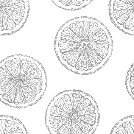 sliced fruit: Seamless pattern of sliced oranges. Hand-drawn citrus. Graphic fruit background. Illustration