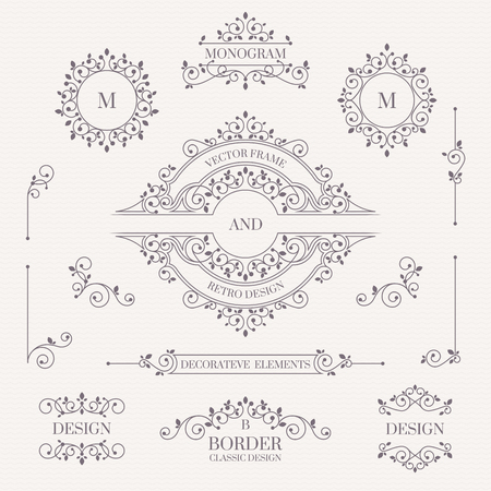 Set of decorative monograms, borders, frames, corners. Design collection for labels, invitations, banners, posters, badges, signage, stickers, cards.