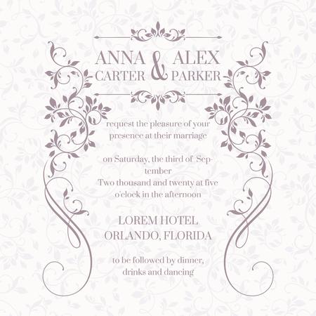 Huwelijksuitnodiging. Designklassieker kaarten. Decoratieve bloemen frame. Sjabloon voor wenskaarten, uitnodigingen. Grafisch ontwerp pagina.