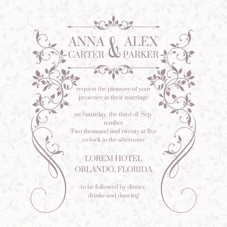 Invitación de boda. Diseñar tarjetas clásicas. Marco floral decorativo. Plantilla para tarjetas de felicitación, invitaciones. La página de diseño gráfico. Foto de archivo - 53198914
