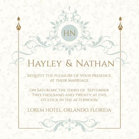 La página de diseño gráfico. Invitación de boda. Marco floral decorativo y el monograma. Plantilla para tarjetas de felicitación, invitaciones, menús.