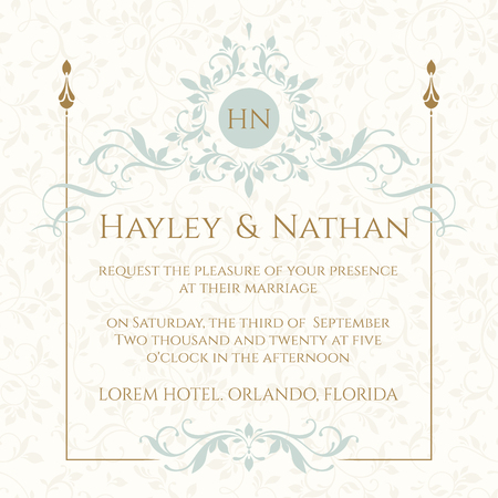 Graphic design page. Wedding invitation. Decorative floral frame and monogram. Template for greeting cards, invitations, menus.