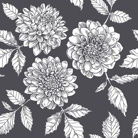 Silhouette white dahlia. Seamless pattern. graphic flowers on dark background.