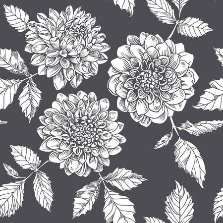 dalia: Silueta de la dalia blanca. Patrón sin fisuras. flores gráficas sobre fondo oscuro.