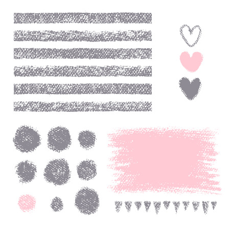 Chalk texture. Seamless stripes, circles, hearts, strokes triangles on white background. Isolated painted shapes for your design. Illusztráció