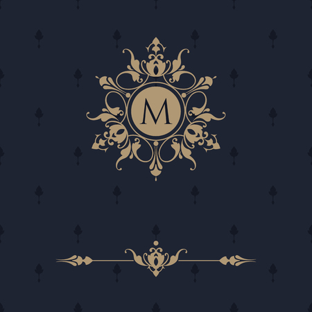 premium: Floral monogram and border for cards, invitations, menus, labels. Graphic design pages, business sign, boutiques, cafes, hotels. Classic design elements for wedding invitations. Illustration