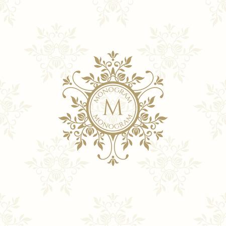 Floral monogram for cards, invitations, menus, labels. Graphic design pages, business sign, boutiques, cafes, hotels. Classic design elements for wedding invitations. Illusztráció