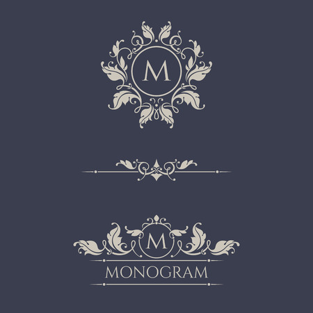 Floral monograms and borders for cards, invitations, menus, labels. Graphic design pages, business sign, boutiques, cafes, hotels. Classic design elements for wedding invitations. Illusztráció