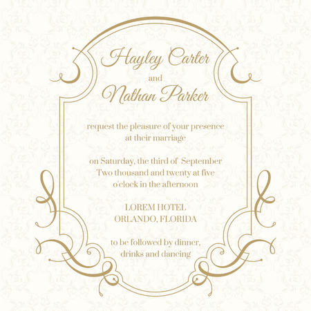 classical: Graphic design page. Wedding invitation. Calligraphic frame. Template for greeting cards, invitations, menus.