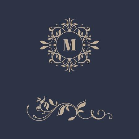 Floral monogram and border for cards, invitations, menus, labels. Graphic design pages, business sign, boutiques, cafes, hotels. Classic design elements for wedding invitations. Illusztráció