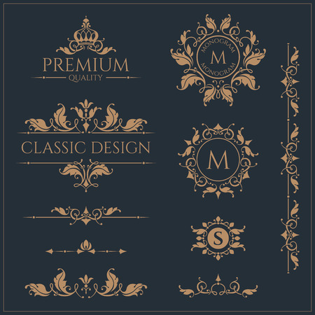 Floral monograms and borders, frames for cards, invitations, menus, labels. Graphic design pages, business sign, boutiques, cafes, hotels. Classic design elements for wedding invitations.