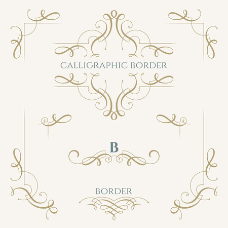 Collection of calligraphic elements. Decorative borders. Graphic design page. Classic design elements for wedding invitations.
