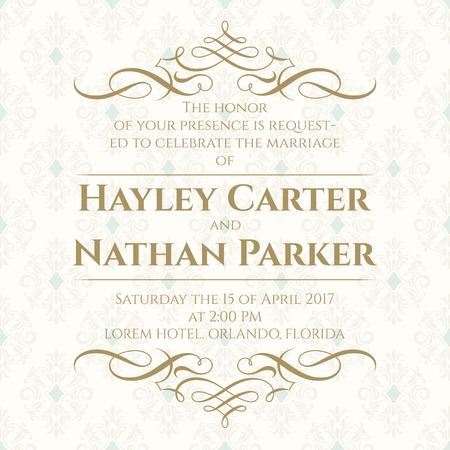 Graphic design page. Wedding invitation. Template for greeting cards, invitations, menus. Calligraphic border and seamless classic background. Illusztráció