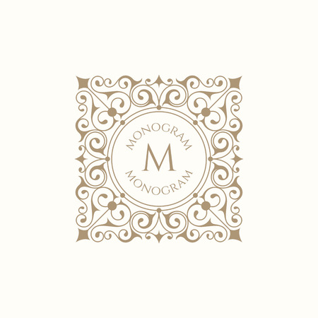Monogram for cards, invitations, menus, labels, business sign, boutiques, cafes, hotels. Classic ornament.