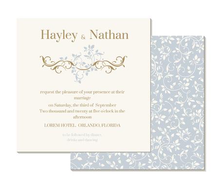 Decorative floral border. Wedding invitation. Floral seamless pattern. Template for greeting cards, invitations. Illusztráció