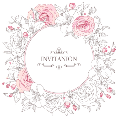 rose ring: Greeting card with flowers. Hand-drawn floral wreaths. Wedding card template. Illustration