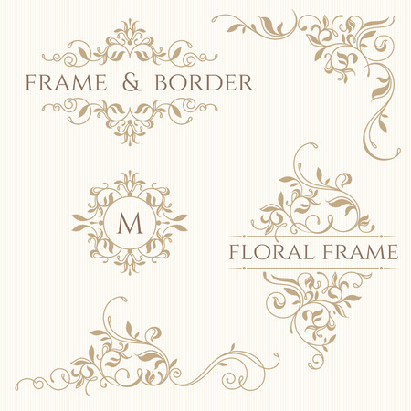 Set of decorative  borders and monograms. Template signage, labels, stickers, cards. Graphic design page. Classic design elements for wedding invitations. Vettoriali