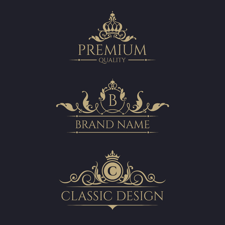Monogram with crown. Premium borders set. Royal design elements.