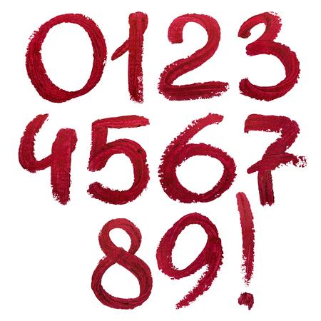 lipstick: Dibujado a mano los números de lápiz labial.