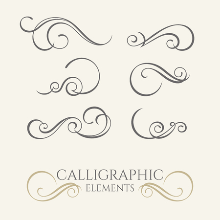 Collection of calligraphic elements. Graphic design page.
