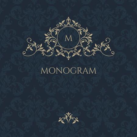 Floral monogram and border for cards, invitations, menus, labels. Classic design elements for wedding invitations. Illusztráció