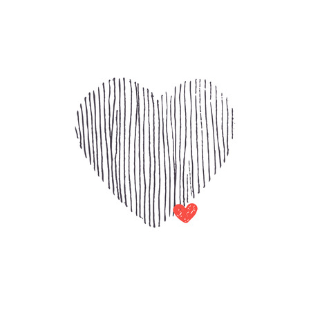 Hand drawn hearts. Striped big and small red heart.