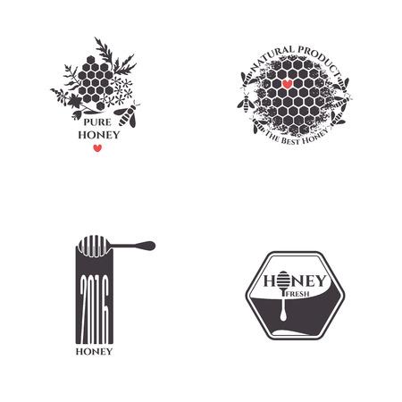 Honey bee set. Badges, stickers, labels for bee products. Illusztráció