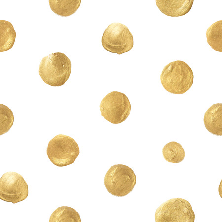 Seamless pattern with polka dots. Painted golden circles on white background.