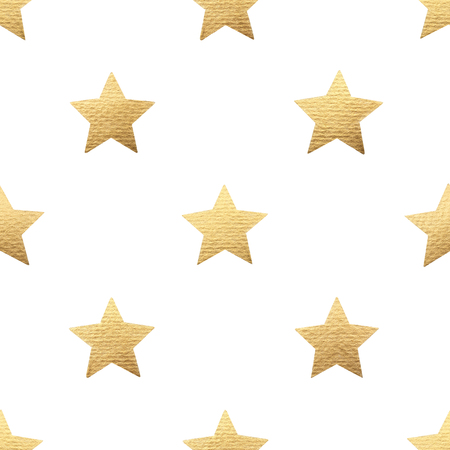 Gold stars on white background. Seamless pattern.
