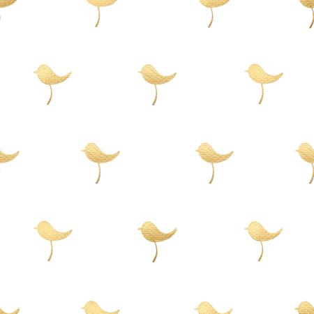Seamless pattern of golden birds.